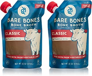 Bare Bones Beef Bone Broth for Cooking and Sipping, 100% Grass-fed, Organic, Protein and Collagen Rich, Keto Friendly, 16 oz, Pack of 2