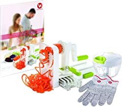 Zucchini Spaghetti Maker - Vegetable Spiralizer -Veggie Slicer -Spiral Vegatable Slicer - Garlic Chopper - Cut-Resistant Gloves -Housewarming Gift- Free Recipe eBook.