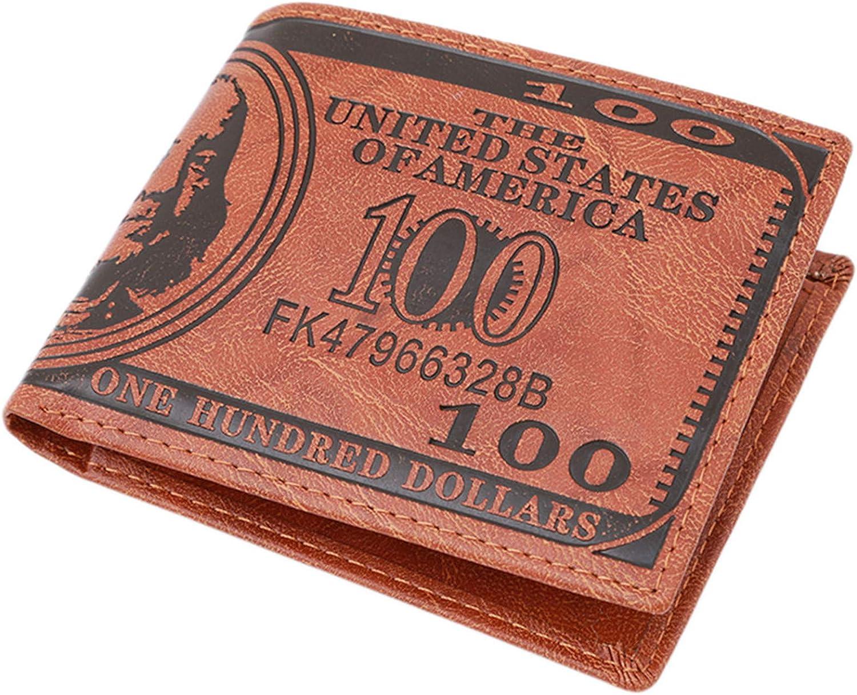 HENGSONG Men US Dollar Bill Wallet PU Leather Credit Card Photo Holder Bifold Billfold