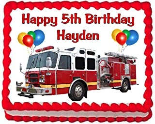 Cakes for Cures Fire Truck Firetruck Edible Cake Image Party Decoration Frosting Topper