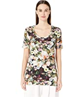 Adam Lippes - Printed Cotton Jersey Open Neck Short Sleeve T-Shirt
