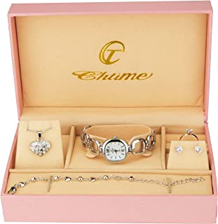 Gift Set Women's Watch Silver- Jewelry Set- Necklace-Ring- Earrings - Band