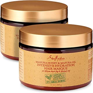 Shea Moisture Manuka Honey & Mafura Oil Intensive Hydration Hair Masque, with African Rock Fig & Baobab Oil, 12 Ounce - 2 ...
