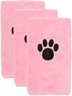 Bone Dry Pet Drying Collection Embroidered Terry Microfiber, Pet Towel Small Set, 15x30, Pink, 3 Count