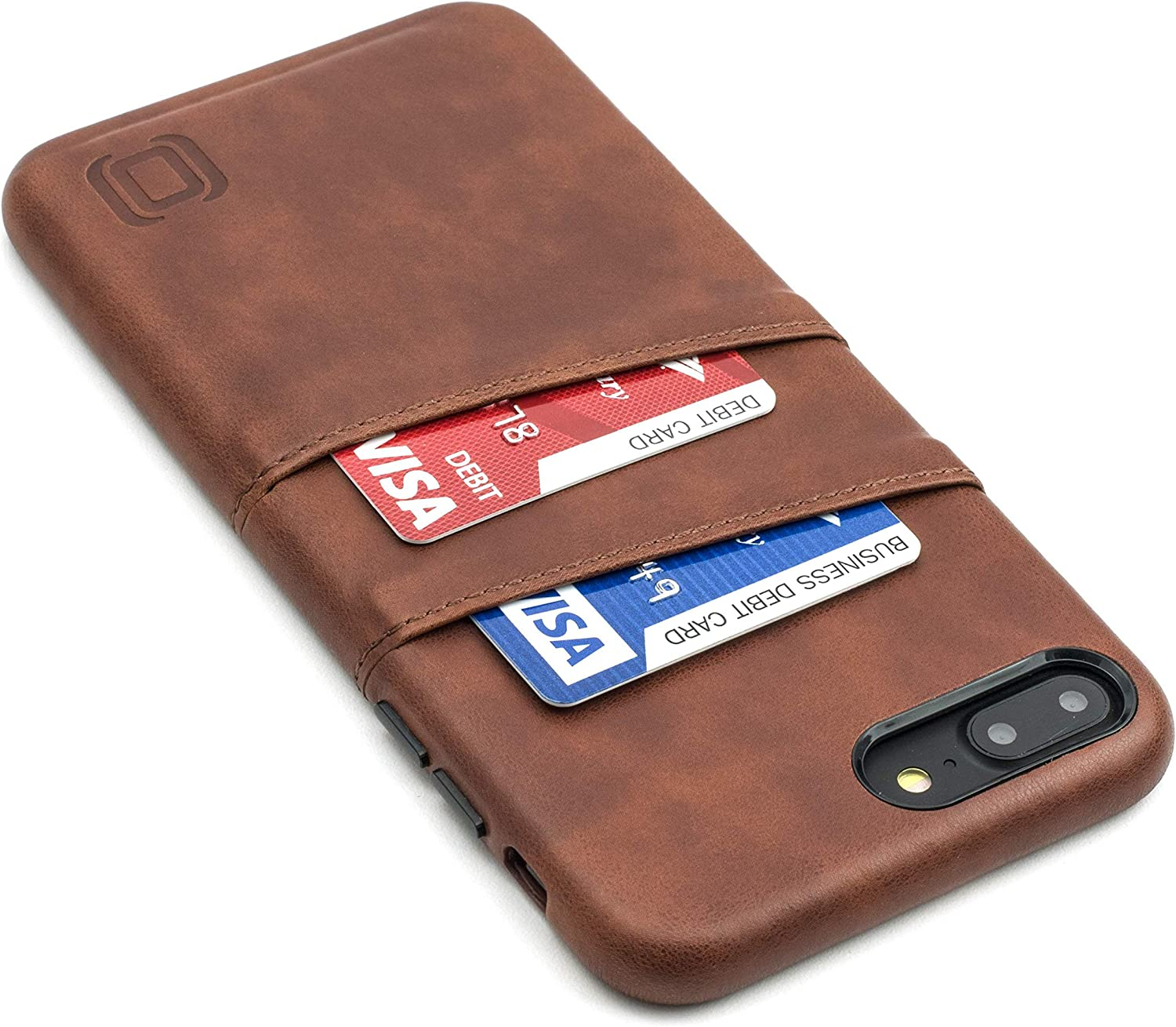 Dockem Exec Wallet Case for iPhone 8 Plus / 7 Plus; Slim Vintage Synthetic Leather Card Case with 2 Card/ID Holder Slots: Simple, Professional, Executive Snap On Cover [Brown]