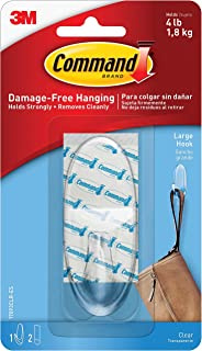 3M Command 17093CLRES Adhesive Hanging Hook, Large, Holds 4lbs, Clear