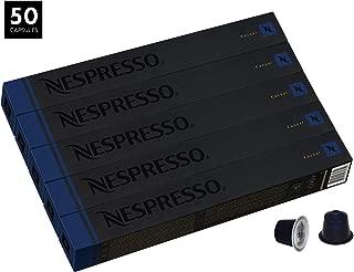 Nespresso Kazaar OriginalLine Capsules, 50 Count Espresso Pods, Dark Roast Intensity 12 Blend, Dark Roast Brazilian & Guatemalan Robusta Coffee Flavors