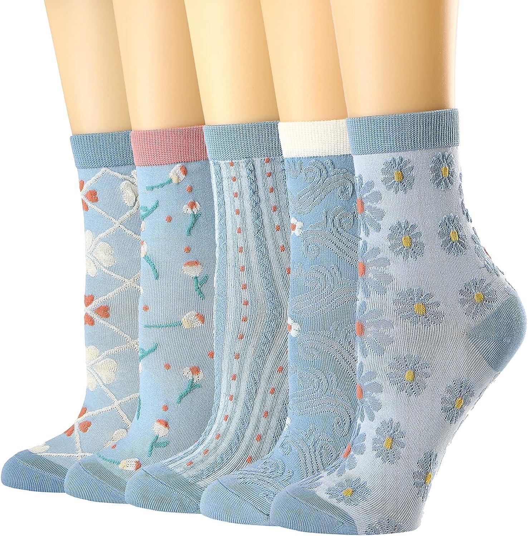 Womens Crew Socks Ruffled Cotton Casual Socks for Women Cute Girls Socks 5 Pack