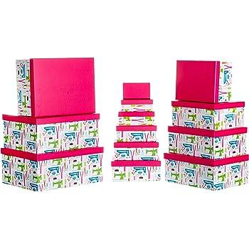 Papel Dorado//Beige Estable Caja de cart/ón con Tapa Juego de 13 Unidades dise/ño de Estrellas Brandsseller 37,5cm x 29cm x 16cm bis 13cm x 7,5cm x 4,4cm