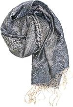 ufash Pashmina 100% Seidenschal aus Indien für Damen & Herren, Paisley Muster, 160 x 35 cm - Schal aus reiner Seide - dive...