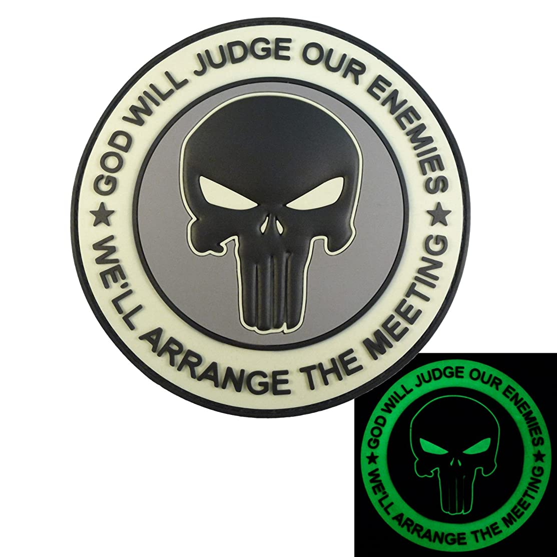 LEGEEON ACU GOD WILL JUDGE OUR ENEMIES Glow Dark Punisher DEVGRU Navy Seals PVC Touch Fastener Patch