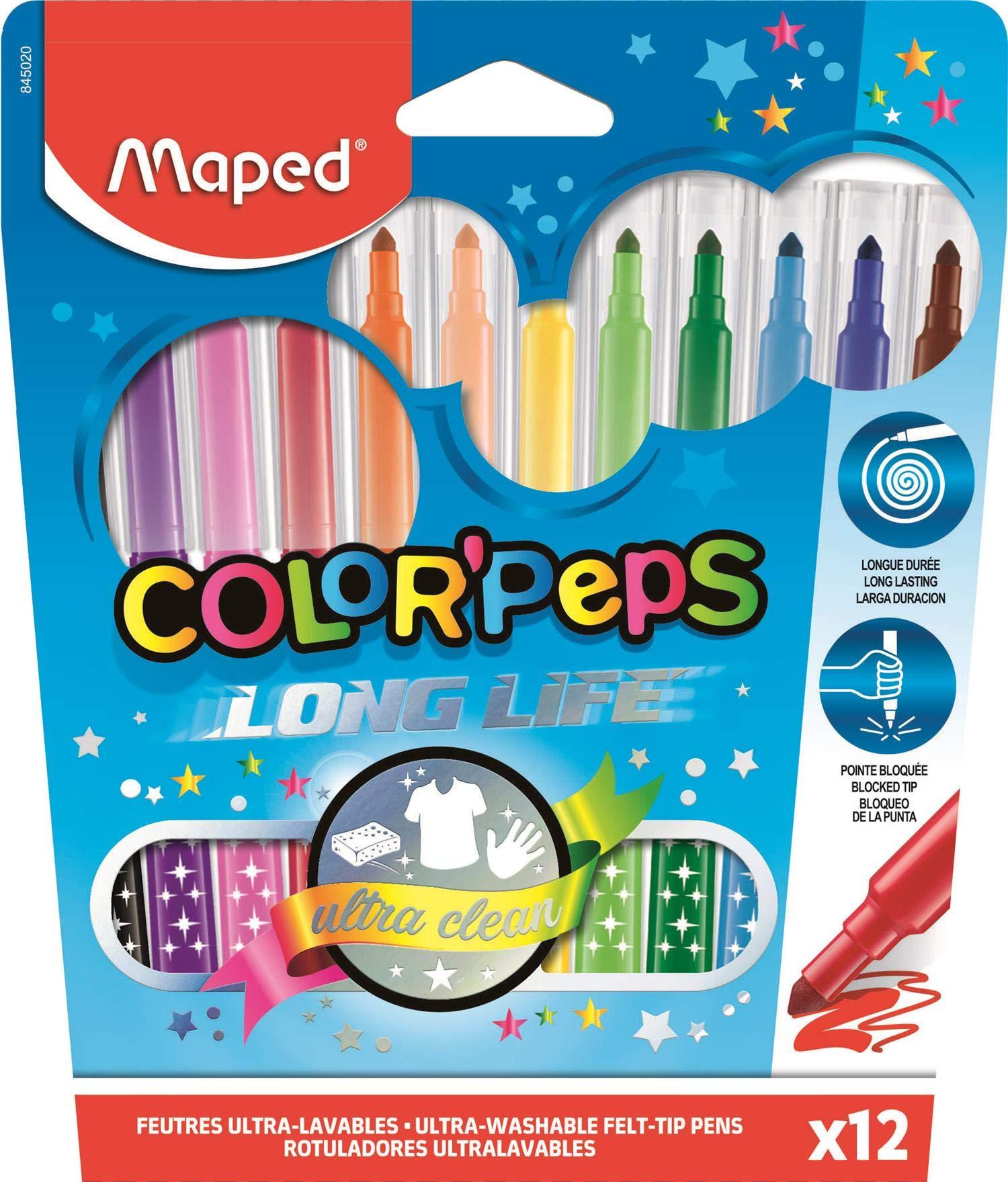 Maped Color Peps Long Life - Pack de 12 rotuladores con estuche de cartón: Amazon.es: Oficina y papelería
