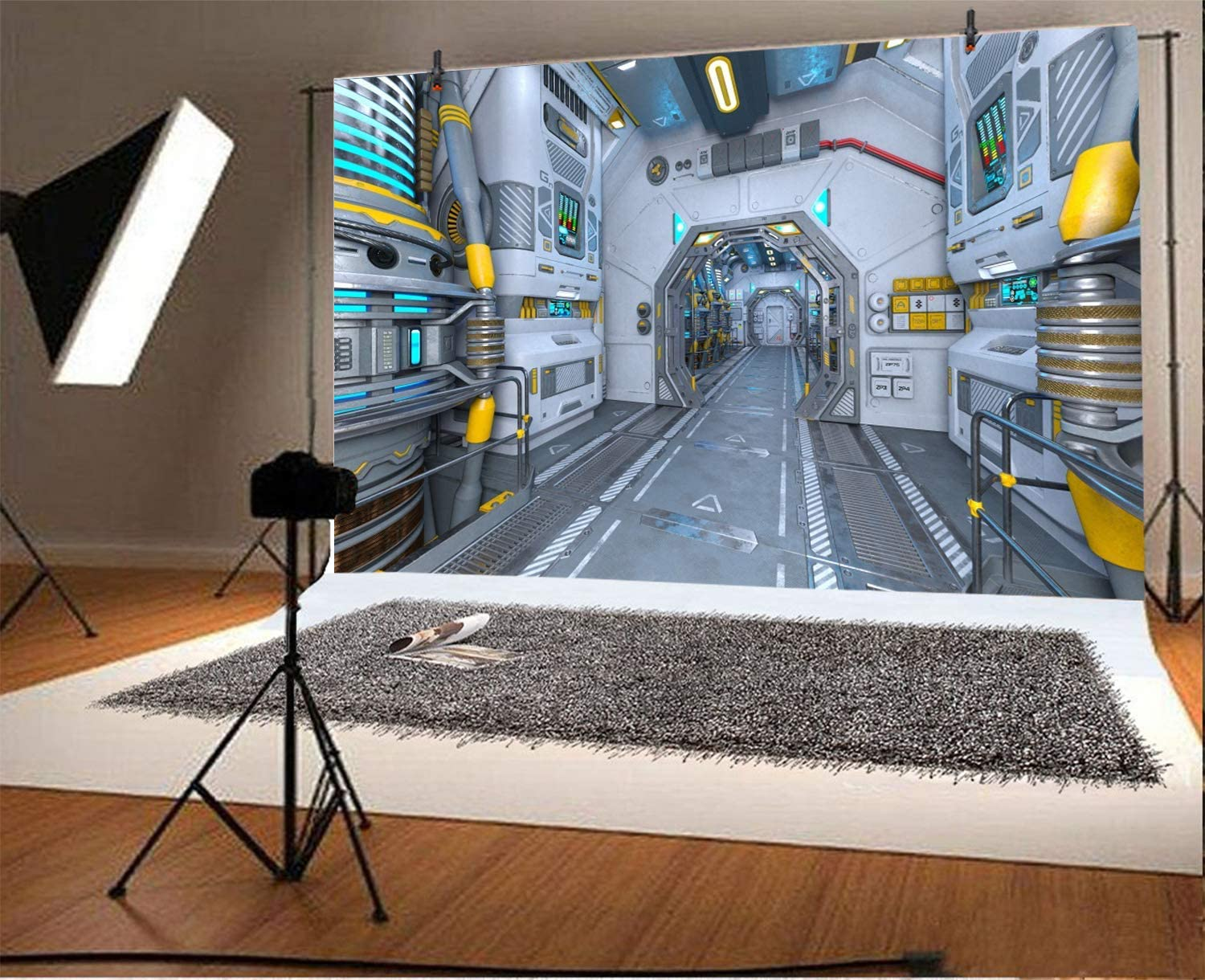 12x8FT Space Station Backdrop Outer Space Explore Capsule Spacecraft Hightech Workplace Universe Reserch Equipments Photo Background Cowboy Birthday Portrait Shoot Studio Vinyl Prop Wallpaper
