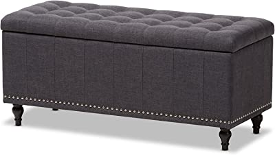 Baxton Studio Sherell Modern Classic Fabric Upholstered Button-Tufting Storage Ottoman Bench, Dark Grey