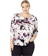 Plus Size High-Low 3/4 Sleeve Top with U Hardware