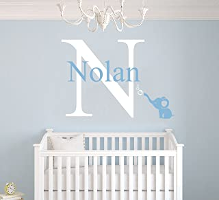 """e-Graphic Design Inc Custom Name & Initial Bubbles Elephant Animal Series - Baby Boy Girl Decoration - Mural Wall Decal Sticker for Home Interior Decoration Car Laptop (AM) (Wide 22"""" x 15"""" Height)"""