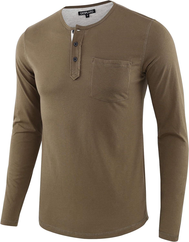 DESPLATO Mens Casual Daily bargain sale 2021 Sport Baseball Long Button Up Sleeve Pocket