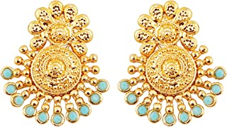 Touchstone Indian Bollywood Ancient Southern Gold Bahubali Inspired Bridal Traditional Jewelry Earrings Embellished With Faux Turquoise For Women