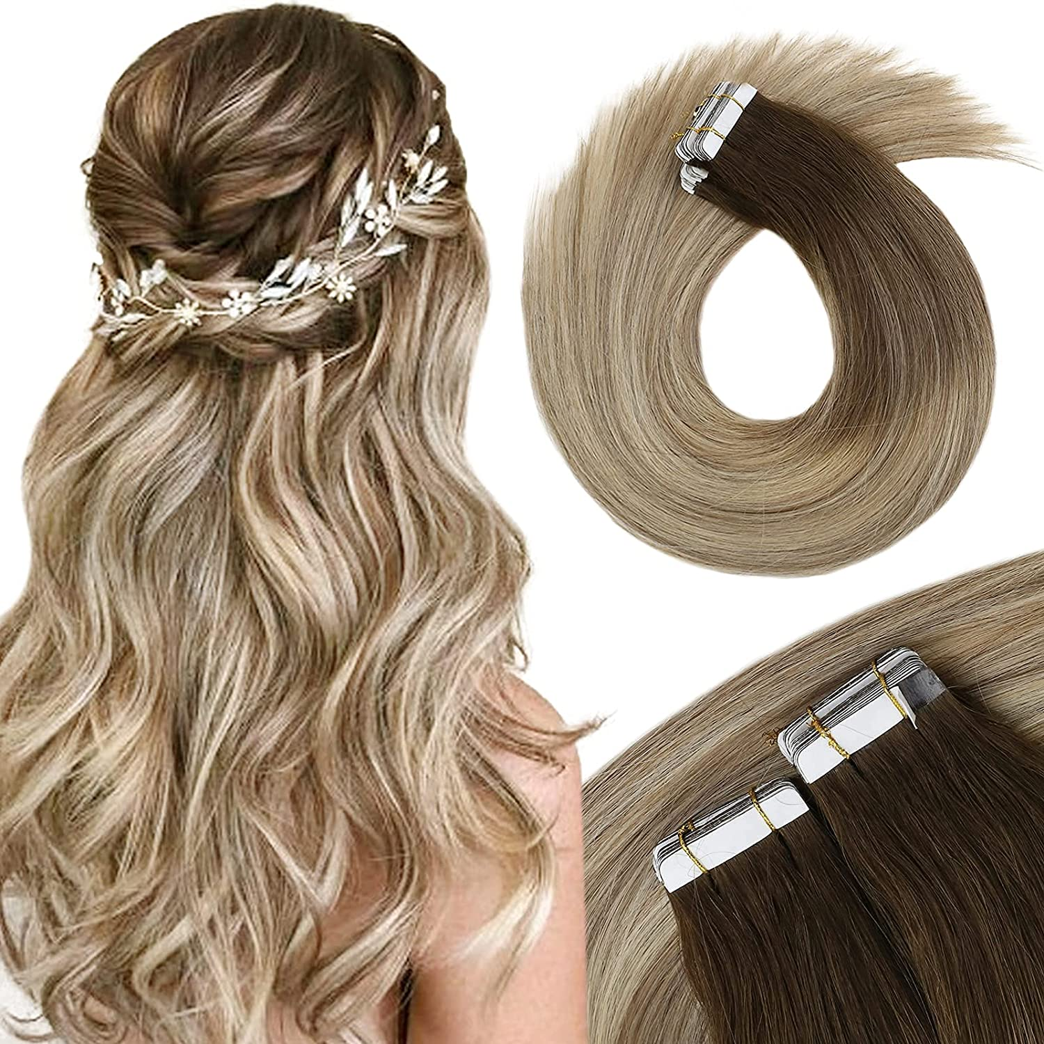 VeSunny Tape Max 49% OFF in Hair Extensions Trust Human Ombre Blonde L 24inch