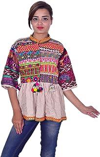 Lakkar Haveli - Chamarra India para Mujer, 100% algodón, Bordada, Color Beige