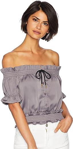 Front Tie Off Shoulder Short Sleeve Blouse