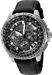 Citizen Men's Promaster Navihawk GPS Stainless Steel and Leather Luxury Watch, Color:Black (Model: CC9030-00E)