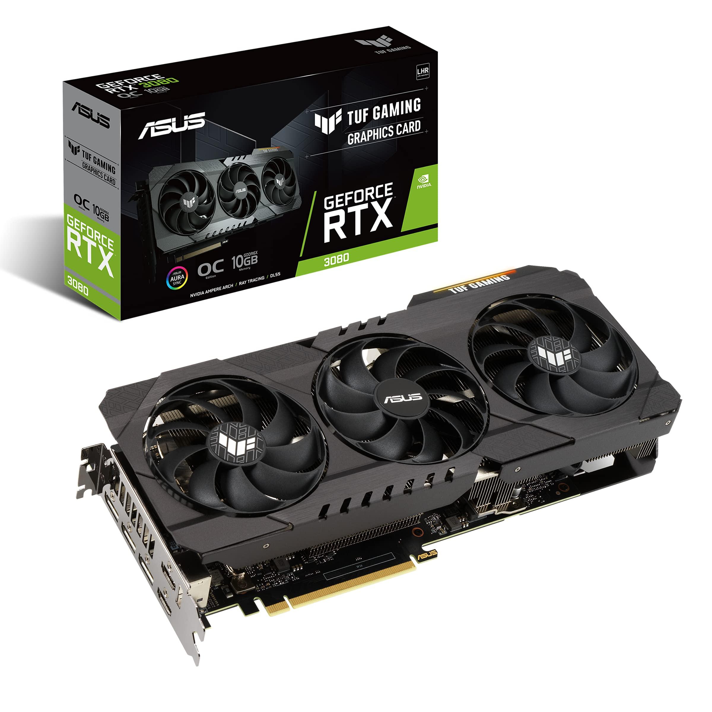 ASUS TUF Gaming NVIDIA GeForce RTX 3080 V2 OC Edition Graphics Card (PCIe 4.0, 10GB GDDR6X, LHR, HDMI 2.1, DisplayPort 1.4a, Dual Ball Fan Bearings, Military-Grade Certification, GPU Tweak II)