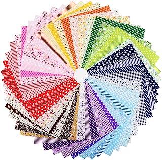 Konsait 56 قطعه 10 10 10 اینچ پارچه چند رنگ پارچه تکه ای پنبه مخلوط مربع بسته نرم افزاری خیاطی لحاف ، کاردستی پارچه بسته بندی مربع Patchwork DIY خیاطی Scrapbooking لحاف لحظه ای نوار