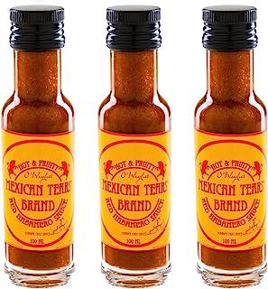 Mexican Tears - Red Habanero Sauce - 3er Pack, scharfe Sauce aus Chili & Meersalz, perfekt als Grill-Zubehör für BBQ Sauce, Pulled Pork & zum Aufpeppen von Chicken Wings 3x100ml Chilisauce