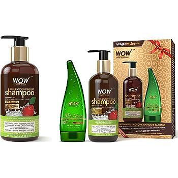 WOW Apple Cider Vinegar No Parabens & Sulphate Shampoo, 300mL And Wow Apple Cider Vinegar Shampoo, 300ml with 99% Pure Aloe Vera Gel, 130ml