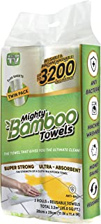 Mighty Bamboo Towels - Super Strong, Ultra Absorbent, Reusable (Paper Towel Alternative) - 2 Pack