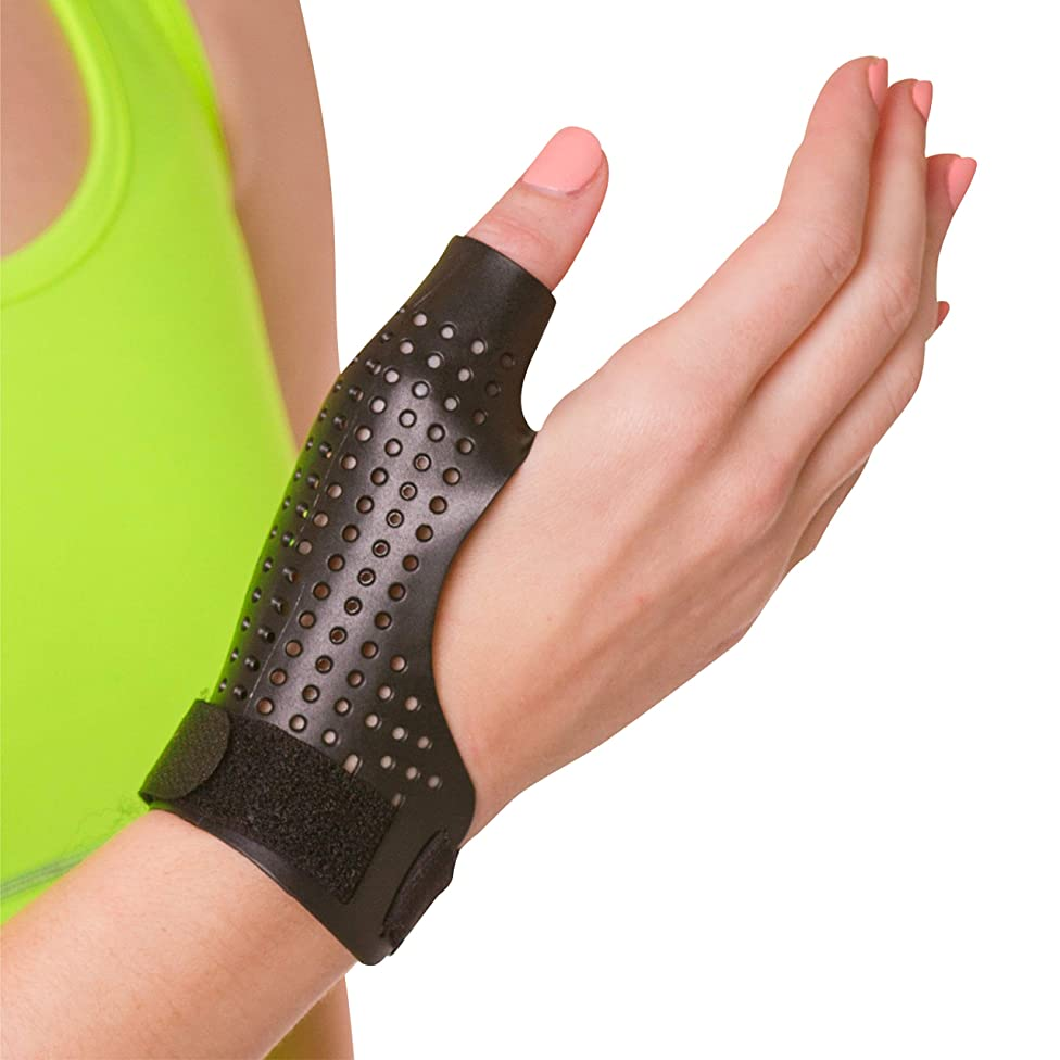 BraceAbility Hard Plastic Thumb Splint | Arthritis Treatment Brace to Immobilize & Stabilize CMC, Basal and MCP Joints for Trigger Thumb, Tendonitis Pain, Sprains (Large - Right Hand)