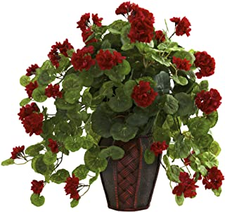 """Nearly Natural 6777 Geranium with Decorative Planter, Green/Red,7.5"""" x 9"""" x 30"""""""