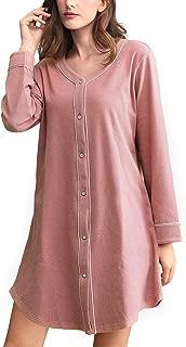 Womens Soft Fleece Nightgowns Button Down Long Sleeve Night Shirt