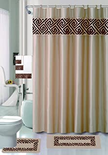 Luxury Home Collection 18 Piece Embroidery Non-Slip Bathroom Rug Set Set Includes Bath Rug Mat, Contour Mat, Shower Curtain, Towels, and Hooks (Gold)
