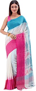 SareesofBengal Women's Khadi Cotton Jamdani Dhakai Saree Tangail Tant Handloom Off-white