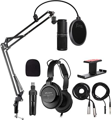high quality Zoom ZDM-1 Podcast online Mic Pack with Dynamic Microphone, Closed-Back Headphones, and Custom Windscreen Bundle with Blucoil Aluminum Dual popular Suspension Headphone Hanger, and Boom Arm Plus Pop Filter online sale