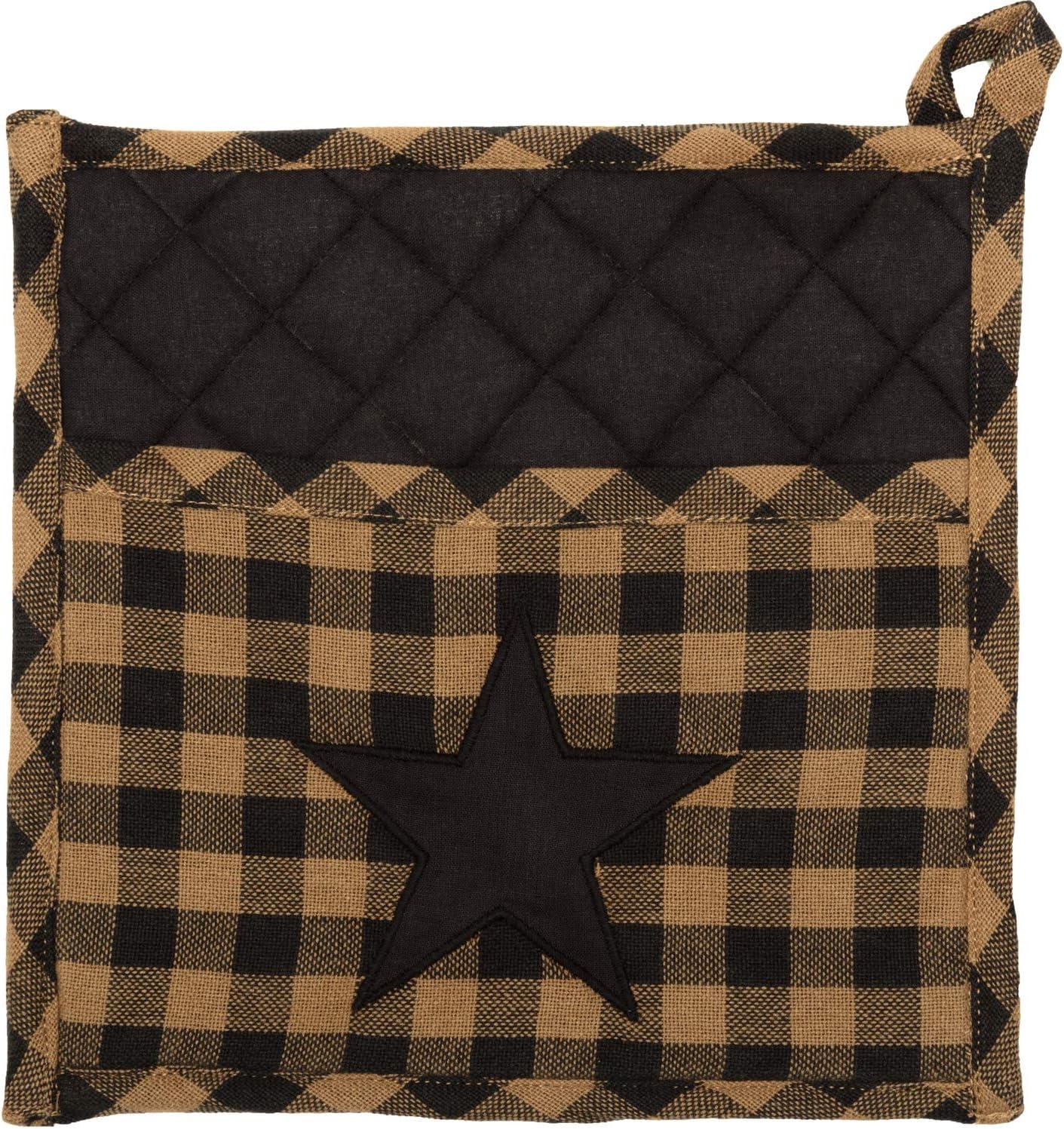VHC Brands Primitive Tabletop Kitchen Fabric Loop Cotton Appliqued Pocket Star Pot Holder, Raven Black