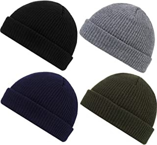 YiHee 4-Pack Trawler Beanie Watch Hat Roll up Edge Skullcap Fisherman Beanie Winter Warm Hats for Men Women