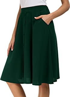 Womens High Waisted A Line Pleated Midi Skirt Button Front Skirts with Pocket
