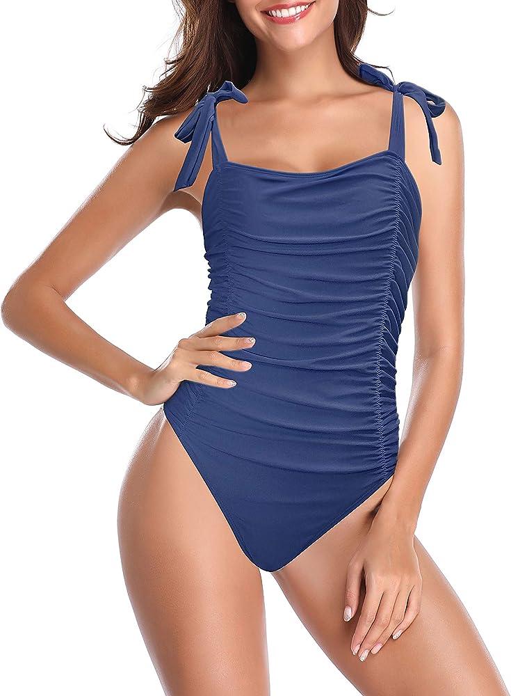 Shekini, elegante costume da bagno intero per donna, 82% nylon, 18% spandex, blu 1153D
