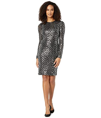 Calvin Klein Long Sleeve Sequin Sheath Dress (Black/Tin) Women