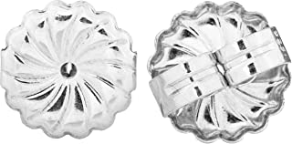 Sterling Silver Large Swirl Earring Backs Ear Nuts | 9.2 x 9.4 mm | Made in USA, Sterling Silver, Silver, 16 Pack