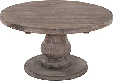 Benjara, Brown Traditional Style Wooden Round Coffee Table with Pedestal Base