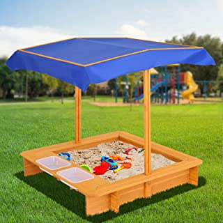 Keezi Kids Sandpit Boat Style Play Sand Box with Grand Sheet for Outdoor Garden Patio Yard