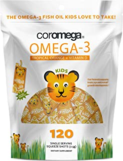 Coromega Kids Omega 3 Fish Oil Supplement, 650mg of Omega-3s, Tropical Orange + Vitamin D, 120 Single Serve Squeeze Packets