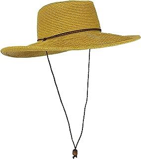 Straw Gambler Bolero Cowboy Hat, Wide Brim Sun Cap w Chin Strap, Gorras Planas Mujer