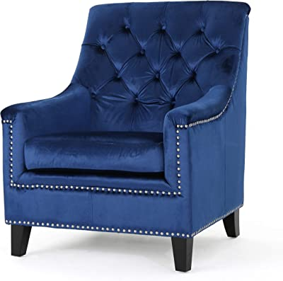 Christopher Knight Home Jaclyn Velvet Tufted Club Chair, Navy Blue / Natural