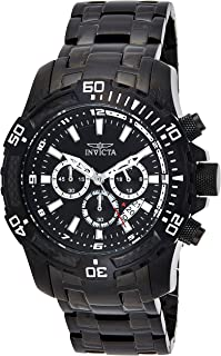 Invicta Pro Diver Men's Black Dial Stainless Steel Plated Band Watch - 24858, Silver Band, Analog Display
