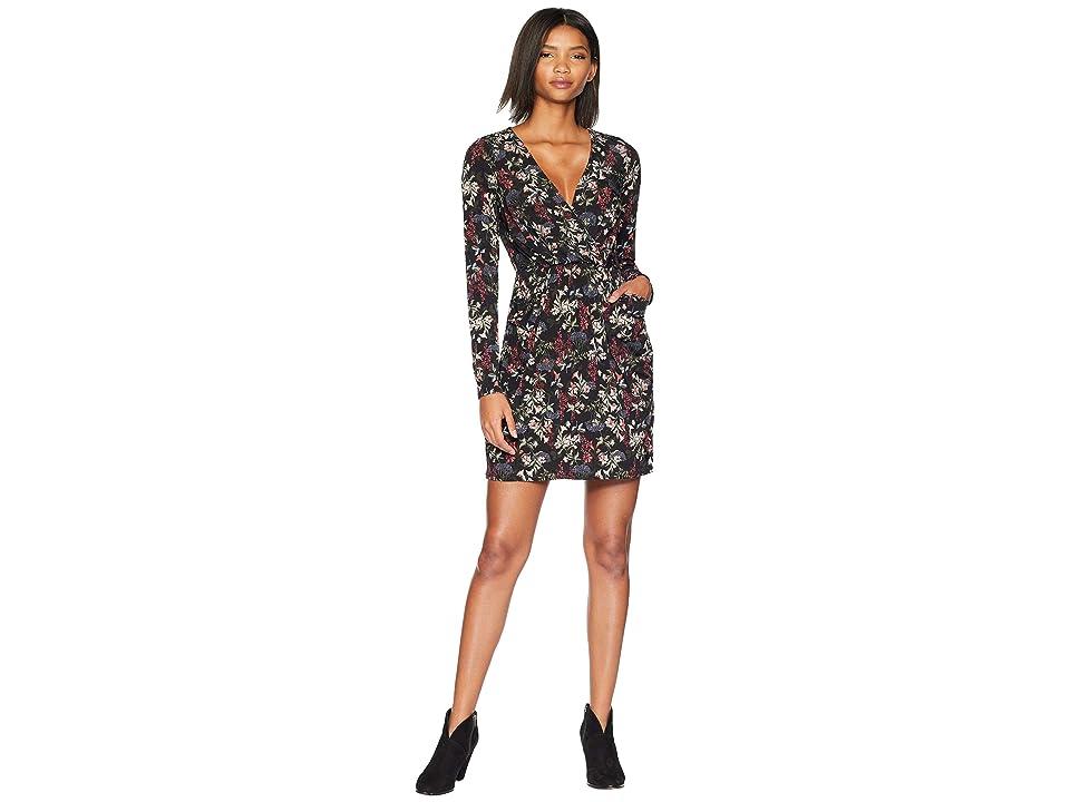 BCBGeneration Faux Wrap Dress (Black Multi) Women